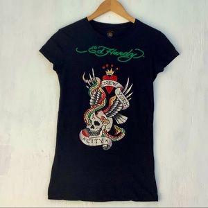 Ed Hardy Black Short Sleeve Rhinestone T-Shirt Sm.